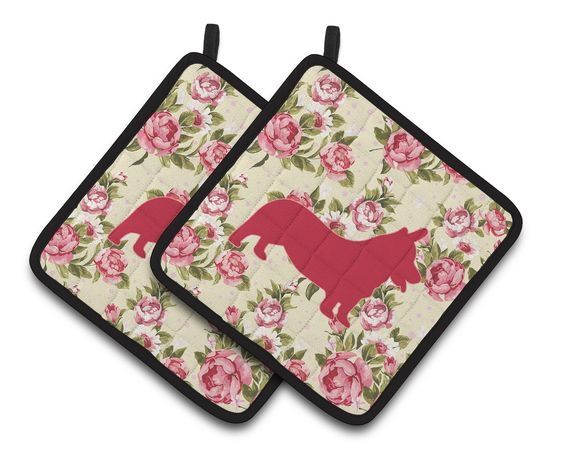 Corgi Shabby Chic Yellow Roses Pair of Pot Holders BB1069-RS-YW-PTHD