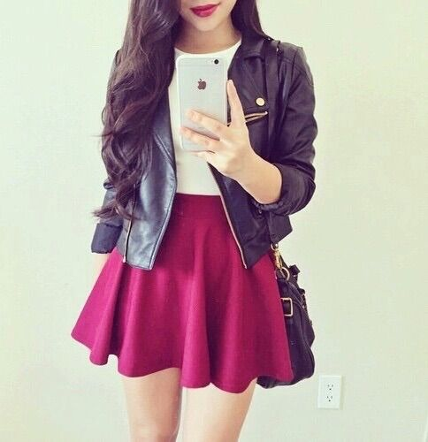 Image via We Heart It #bag #beige #black #blouse #dress #fashion #girls #iphone #jacket #leather #outfit #redwine #skirt #cute