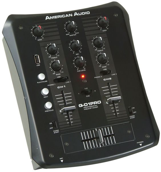 1121000005 - Q‐D1 PRO (USB) ‐ DJ Mixer ‐ 2 Phono, 2 Line, 1 Mic input ‐ Built‐in USB player for instant music ‐ USB input assignable to every channel ‐ Fader Q‐Start ‐ ‐ Cue monitoring between channels ‐ Gain, treble & bass control for each channel ‐ Master, Microphone & Cue level volume control