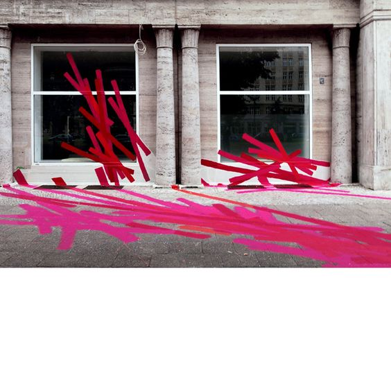 Agathe de Bailleicourt <p>Pink Karl<br/>Acrylic paint on pavement, windows and walls<br/>Karl Marx Allee, Berlin<br/>2007</p>