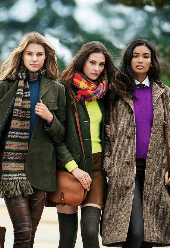 La nouvelle tradition : classiques vieille école réinventés pour 2015, des vestes en tweed aux pulls Fair Isle, en passant par les mini-jupes en daim et les jeans skinny en cuir