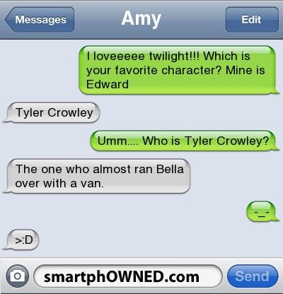 You too?!: Funny Texts,  Website, Team Tyler, Favorite Character, Tyler Crowley, Funny Stuff, Hate Twilight, Anti Twilight