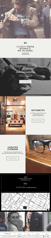Voskins   High end Eyewear responsive website by MissBruce Lee, via Behance