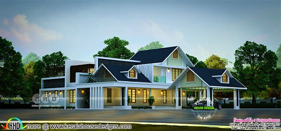Sloping Roof Contemporary Style Stunning House Kerala House Design Kerala Houses House Design