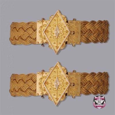 Rare antique Victorian Bracelets of Etruscan Revival design. 19th century