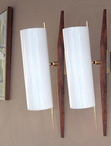 Vintage Danish Wall Lights : Pair Mid Century Modern Teak Sconce Wall Lamp Light Danish Vintage 1950s RISPAL Modern, Teak ...