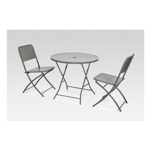 Metal Punch Folding Patio Bistro Set Silver Project 62 This Outdoor Bistro Patio Set Comes W 2 Armless F Bistro Set Metal Patio Chairs Bistro Patio Set