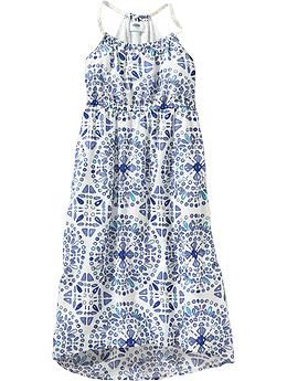 Girls Medallion-Print Hi-Lo Sundresses   Old Navy