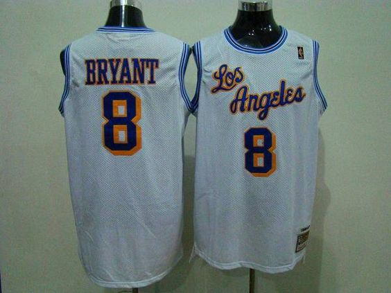 vvymkc Mitchell and Ness Lakers #8 Kobe Bryant White Embroidered