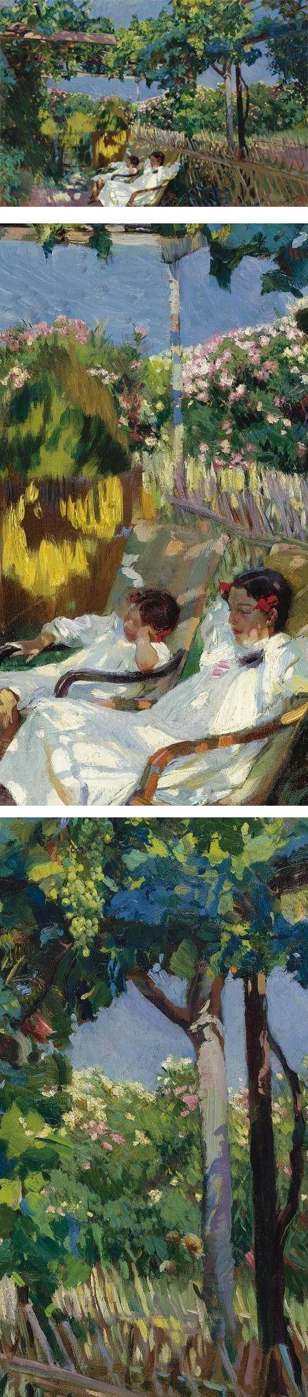 La Siesta en el Jardin, Joaquin Sorolla y Bastida:
