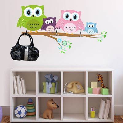 wandtattoo eulen garderobe deko vorschlag ast baum eule kinderzimmer wanddeko ebay wanddeko. Black Bedroom Furniture Sets. Home Design Ideas
