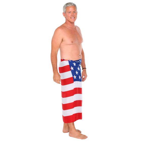 1 World Sarongs Men's American Flag Fringeless Sarong