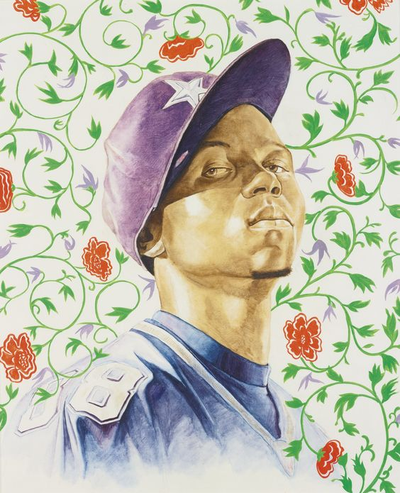 Kehinde Wiley B1977 ISAAC ROYALL STUDY oil and pencil on paper - estimate sheet