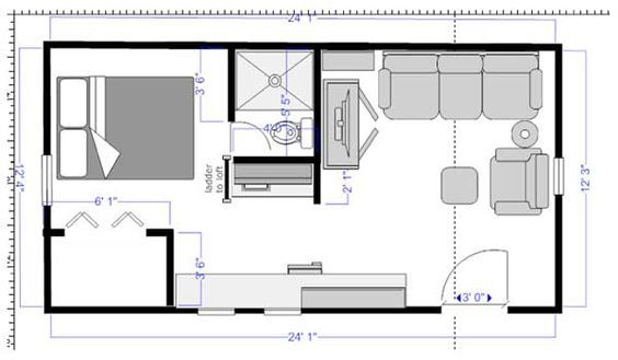 Saw This O Tiny House It S A Floor Plan Cracker Cabin Someone Commented On The Door Being On The S Tiny House Floor Plans Cabin Floor Plans Tiny House Layout