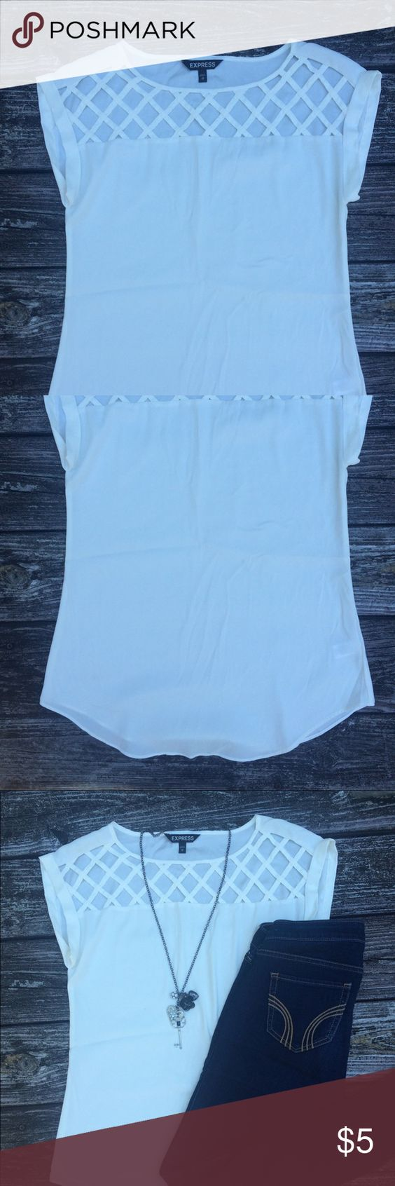 White Express Blouse Thin white blouse. Long enough to wear with leggings Express Tops Blouses