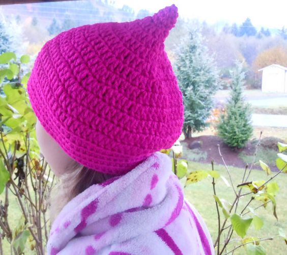 Slightly Slouched Raspberry Pixie Hat by PoorGirlCouture on Etsy, $25.00
