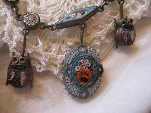 Victorian Mosaic Necklace  Scarab Drops