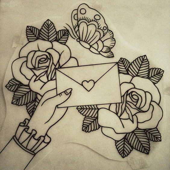 roses tattoo with letter and hand butterfly tattoos