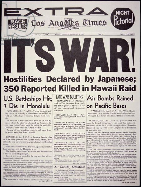 'It's War!', front page of the 'Los Angeles Times', 8th December, 1941 (litho)