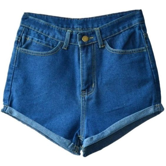 Haola Women's Juniors Vintage Denim High Waisted Folded Hem Jeans... (€20) ❤ liked on Polyvore featuring shorts, vintage jean shorts, denim short shorts, fold over shorts, high-rise shorts and high-waisted shorts