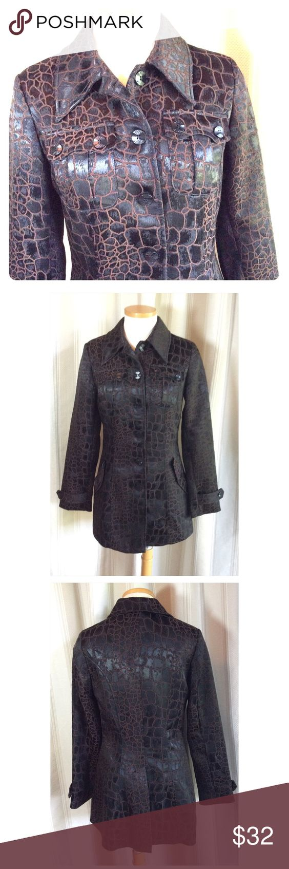 "BISOU BISOU LONG JACKET Satiny fur look material of Polyester and 3% Spandex. Fully lined Fitted shape with kick pleat in back. Four pockets.  18"" at chest 15.5 at waist. 29"" long. Excellent condition Bisou Bisou Jackets & Coats"