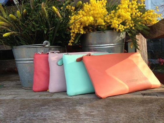 Schultertaschen - Mini-Bag RIMINI in Farbe Aquamarin - ein Designerstück von Thuskia bei DaWanda