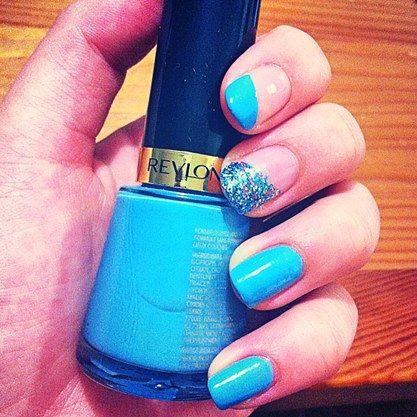 Blue; Sparkling; Nail Art