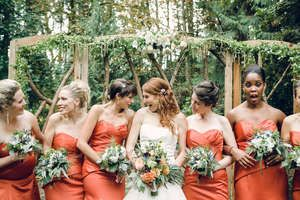 a softer shade of the bridesmaids dresses?
