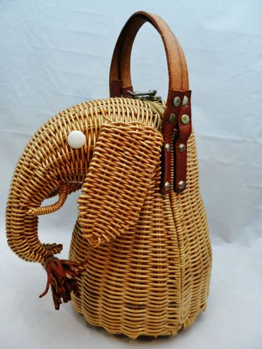 Vintage Marcus Brothers Elephant Wicker Purse: