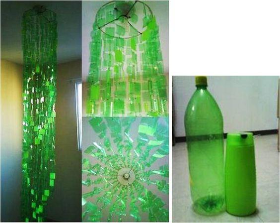 L mpara colgante con botellas recicladas manualidades de - Manualidades con lamparas ...