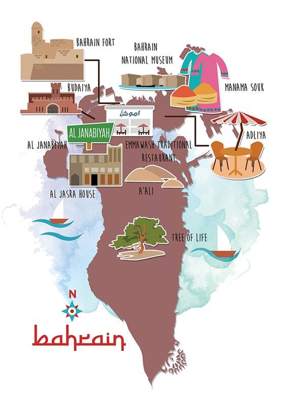 Bahrain Map by Swapnil Redcar for Jetwings