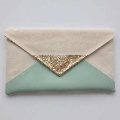 glitter and mint envelope clutch