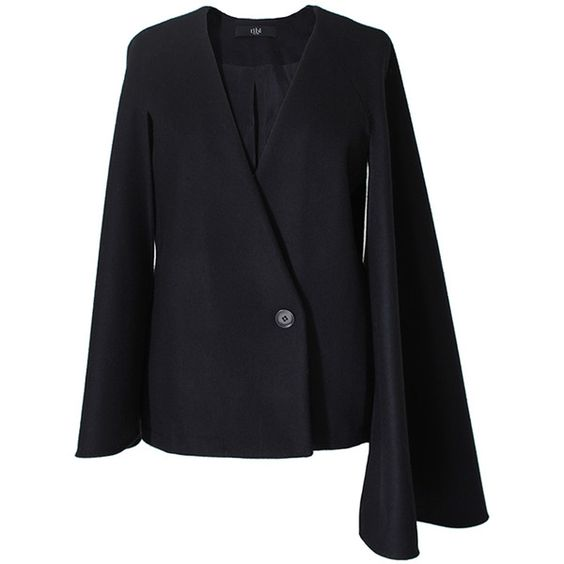 Tibi Quecha Felted Wool Cape Blazer ($195) ❤ liked on Polyvore featuring outerwear, jackets, blazers, black, black blazer cape, black slip, black blazer, black cape coat and black blazer jacket