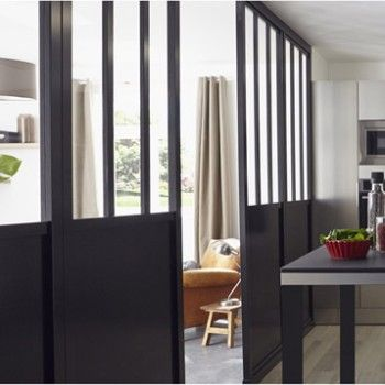 Cloison amovible d corative atelier noir larg 80cm - Verriere atelier leroy merlin ...