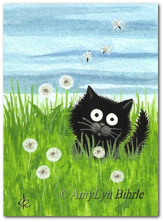 Black Cat Make a Wish Dandelion  Art Print or ACEO by AmyLynBihrle, $8.99: