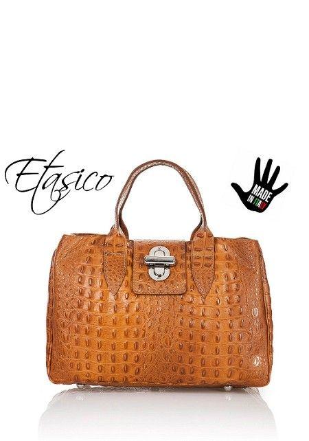 Italian Leather Alligator Print Handbags Made in Italy Cognac                                                                                                                                                                                 More