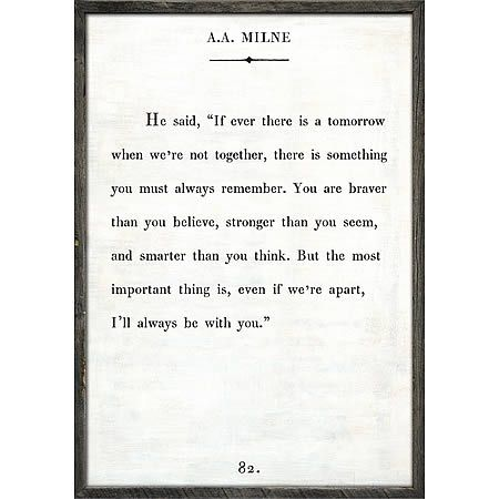 A A Milne Art Print White Inspirational Quotes Wall Art Wall Art Quotes Sugarboo Designs