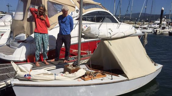 Josephine & John Perry cruise all over with a boom tent on their home designed/built 15 foot dinghy.