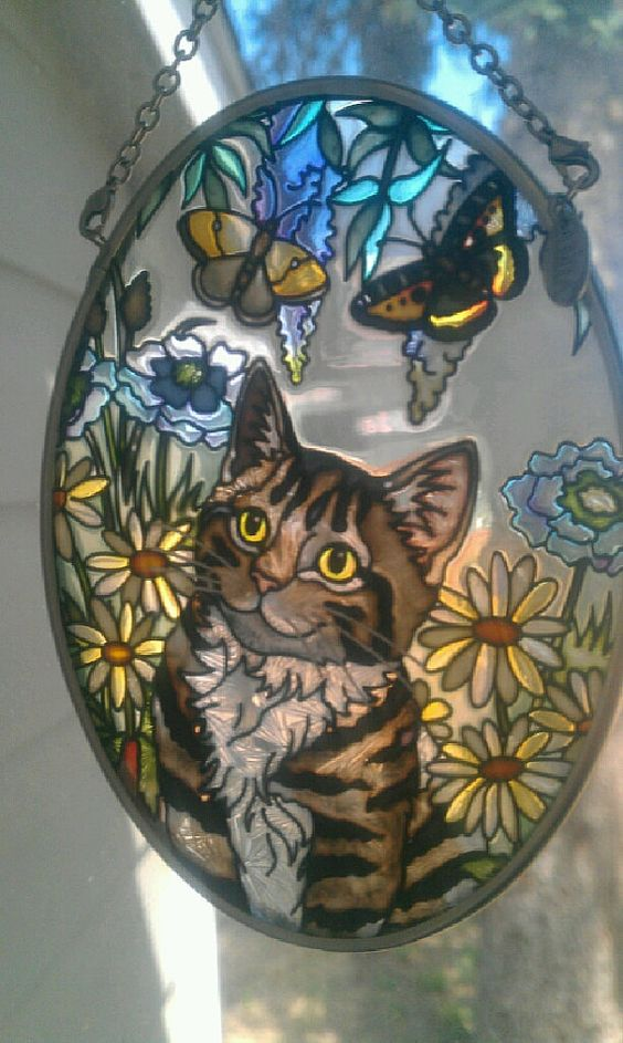 AMIA Cat in the Garden with Butterfly Suncatcher by EmilysCraftys