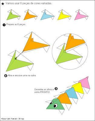 Como fazer Origami de Centopéia - Mundinho da Criança - Atividades para Educação Infantil