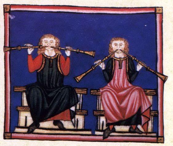 """Coppia di suonatori"""", miniatura tratta dalle 'Cantigas de Santa Maria' (XIV secolo), Biblioteca de El Escorial, Madrid."""