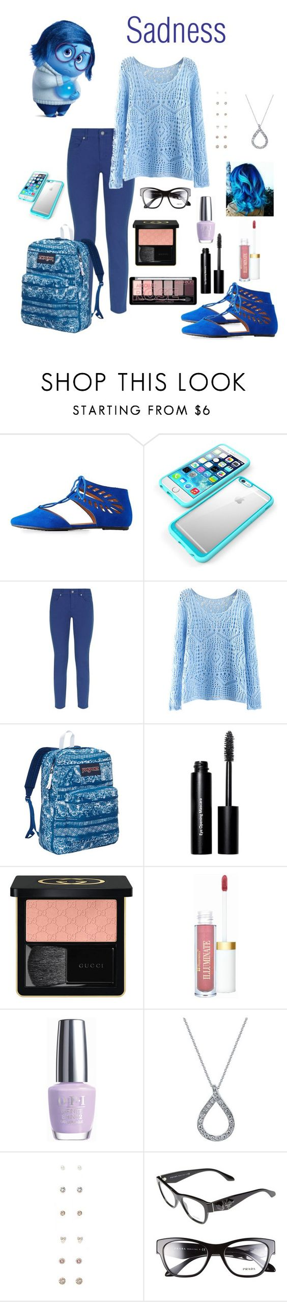 """""""School Outfit : Sadness"""" by dawndreader ❤ liked on Polyvore featuring Bamboo, Escada Sport, JanSport, Bobbi Brown Cosmetics, Gucci, OPI, Harry Kotlar, Forever 21 and Prada"""