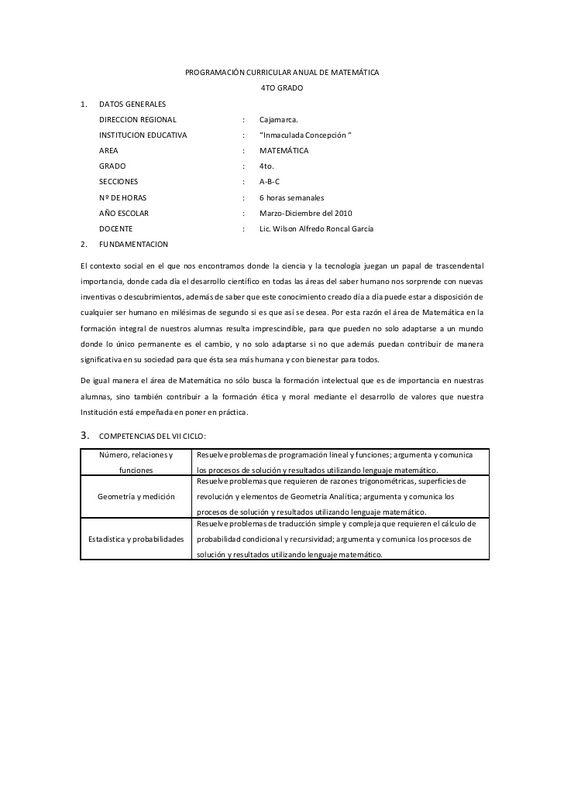 PROGRAMACIÓN CURRICULAR ANUAL DE MATEMÁTICA                                                         4TO GRADO 1.      DATO...
