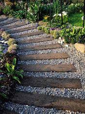 tropical backyard ideas | Tropical Waterfall and Bridge Garden Plan - Thai Garden Design - The ... walkway to firepit
