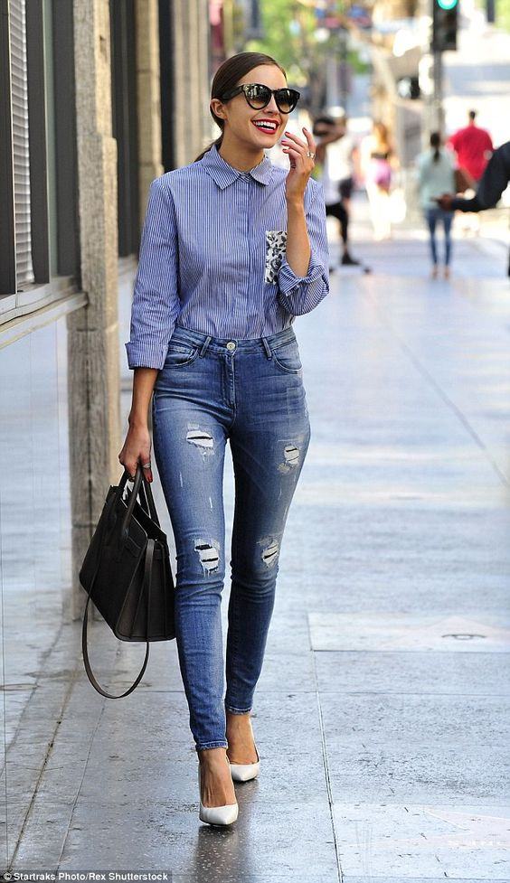 Legs for days:The jeans showcased the star's long slender legs and her impressive thigh g...