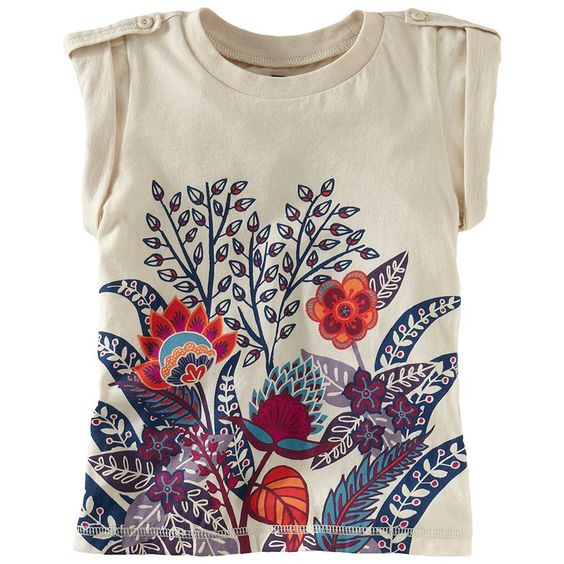 Tea Collection Brush Flower Tab-Shoulder Tee www.shoptadpole.com $29
