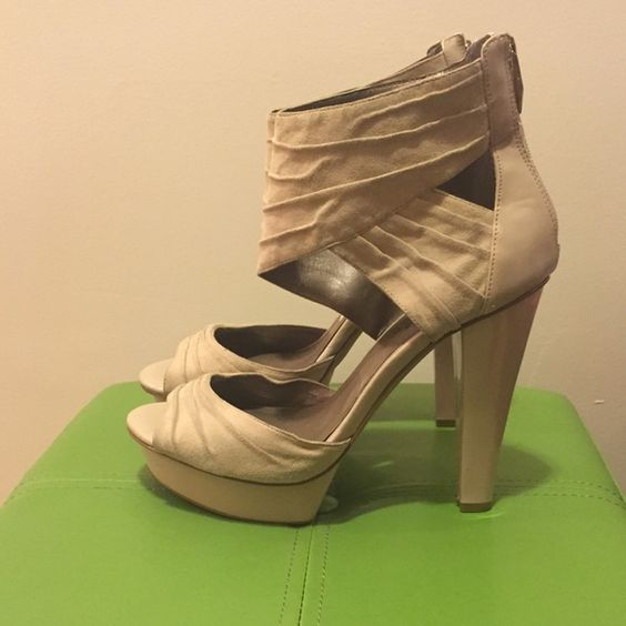 """Fergie Open Toe Heels These super cute open toe heels have a 5"""" heel with a 1"""" platform. I've walked around in them only a few times and they are pretty comfortable. These shoes are designed with a fabric upper and rear zipper entry. Fergie Shoes Heels"""