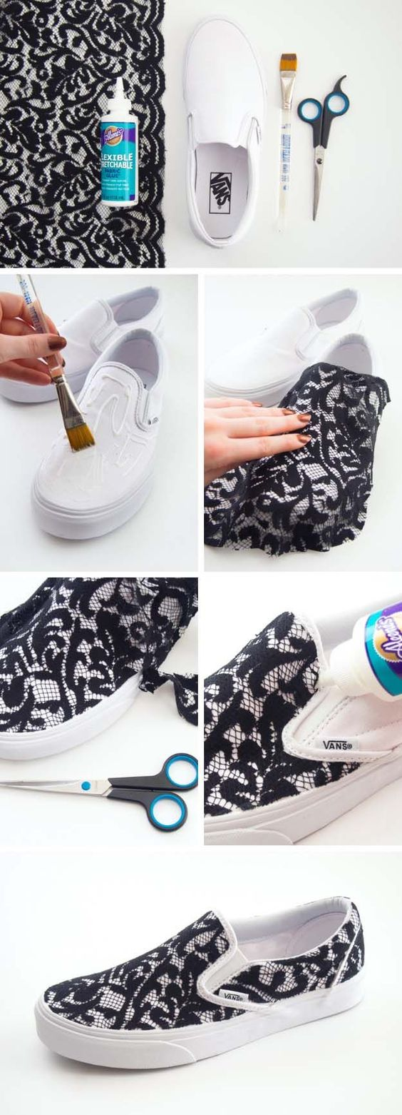 Cool DIY Fashion Ideas | Fun Do It Yourself Fashion projects | Learn how to refashion and sew jeans, T-shirts, skirts, and more | Lace Slip-on Sneakers | http://diyprojectsforteens.com/cool-diy-fashion-ideas/: