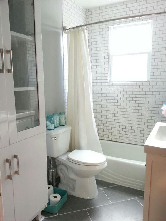 White bathroom white subway tile large gray floor tiles - Turquoise bathroom floor tiles ...
