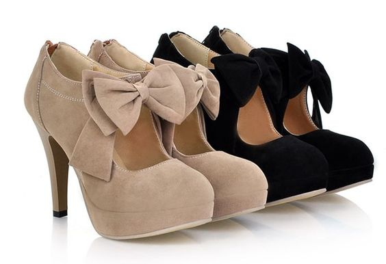 Japanese sweet bowknot heels